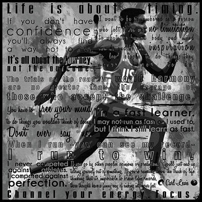 Carl Lewis Motivational Inspirational Independent Quotes 1 Art Print by Diana Van