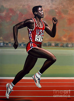 Action Sports Art Painting - Carl Lewis by Paul Meijering