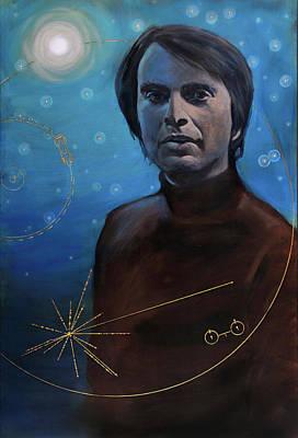 Carl Sagan Painting - Carl Sagan- Voyager by Simon Kregar