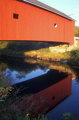 Photograph - Carleton Covered Bridge Reflection by John Burk