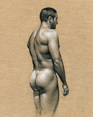Nude Figure Drawing - Carlos by Chris Lopez