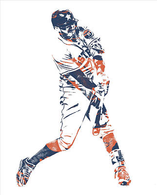 Mixed Media - Carlos Correa Houston Astros Pixel Art 1 by Joe Hamilton