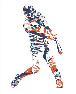 Mixed Media - Carlos Correa Houston Astros Pixel Art 3 by Joe Hamilton