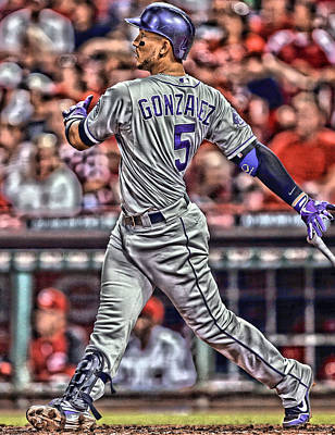 Apple Mixed Media - Carlos Gonzalez Colorado Rockies Art 1 by Joe Hamilton