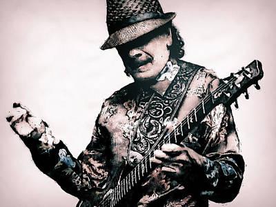 Painting - Carlos Santana - 01 by Andrea Mazzocchetti