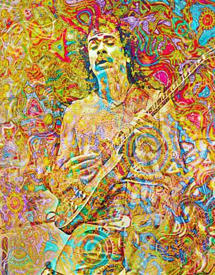 Santana Digital Art - Carlos Santana by Mal Bray