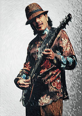 Chicano Digital Art - Carlos Santana by Taylan Apukovska