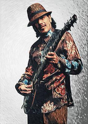 Jazz Digital Art - Carlos Santana by Taylan Apukovska