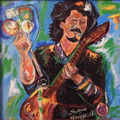 Carlos Santana Painting - Carlos Santana Woodstock On Wood #3 by Marvin Pike