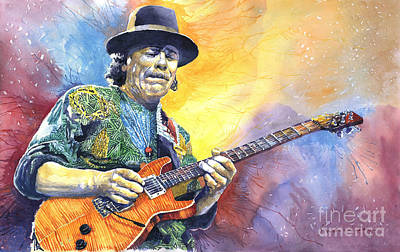 Jazz Legends Wall Art - Painting - Carlos Santana by Yuriy Shevchuk
