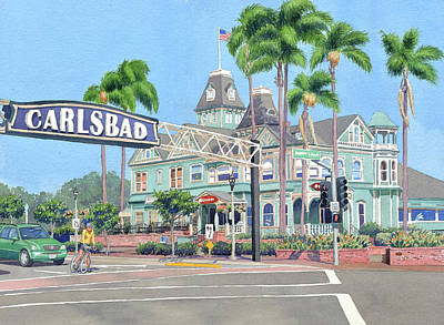 Painting - Carlsbad California by Mary Helmreich