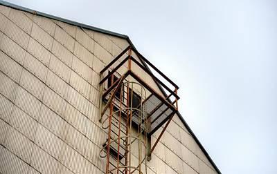 Photograph - Carlton Elevator Ladder Windows by Jerry Sodorff