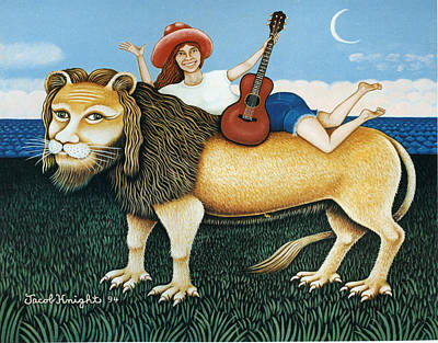 Carly Simon On Her Lion Original by Jacob Knight