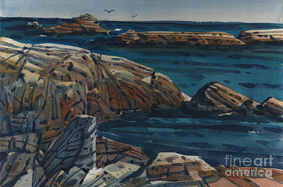 Carmel Wall Art - Painting - Carmel Beach Rocks by Donald Maier