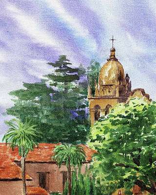 Painting - Carmel By The Sea Basilica by Irina Sztukowski