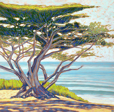 Classic Marine Art Painting - Carmel Cypress by Tom Taneyhill
