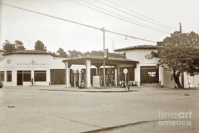 Photograph - Carmel Garage Ford Show Room And Chevron Station Ocean Ave. , Circa 1925 by California Views Mr Pat Hathaway Archives