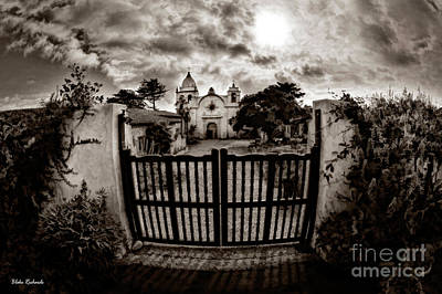 Photograph - Carmel Mission Black White by Blake Richards