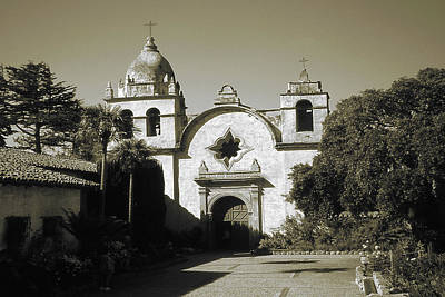 Photograph - Old Carmel Mission California - Vintage Photo Art Print by Art America Gallery Peter Potter