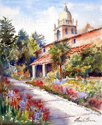 Carmel Mission Painting - Carmel Mission Courtyard by Norah Brown