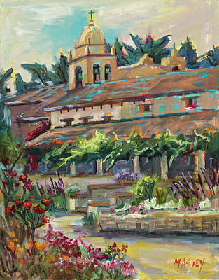 Painting - Carmel Mission Garden, Plein Air by Marie Massey