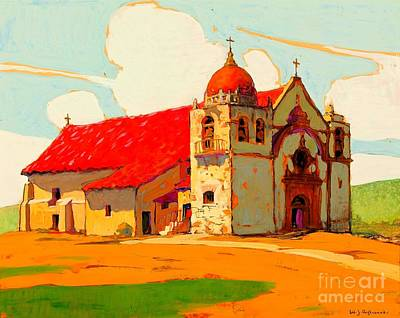 Painting - Carmel Mission San Carlos Barromeo 1919 James Aylward by Peter Gumaer Ogden Collection
