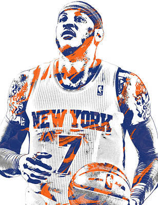 Basket Ball Mixed Media - Carmelo Anthony New York Knicks Pixel Art 2 by Joe Hamilton