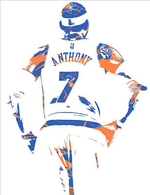 News Mixed Media - Carmelo Anthony New York Knicks Pixel Art 5 by Joe Hamilton