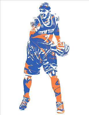 News Mixed Media - Carmelo Anthony New York Knicks Pixel Art 6 by Joe Hamilton