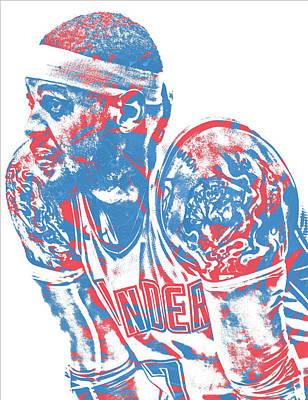 Oklahoma Mixed Media - Carmelo Anthony Oklahoma City Thunder Pixel Art 2 by Joe Hamilton