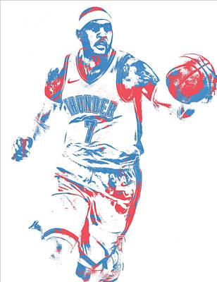 Oklahoma City Thunder Mixed Media - Carmelo Anthony Oklahoma City Thunder Pixel Art 3 by Joe Hamilton