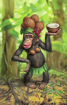 Chimpanzee Digital Art - Carmen Coconuts by Mark Fredrickson