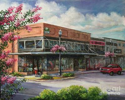 Store Fronts Painting - Carmen's Corner by Virginia Potter