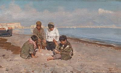 Cheap Painting - Carmine Cards Playing Jacks On The Gulf Of Neapel by Celestial Images