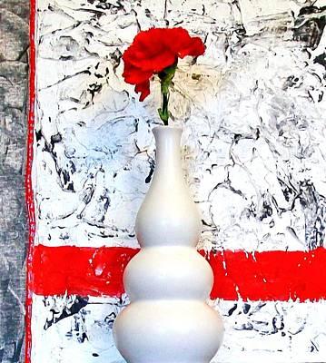 Carnation Against Wallpaper Print by Marsha Heiken