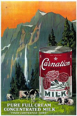 Mixed Media - Carnation Brand - Cream Concentrated Milk - Vintage Advertising Poster by Studio Grafiikka