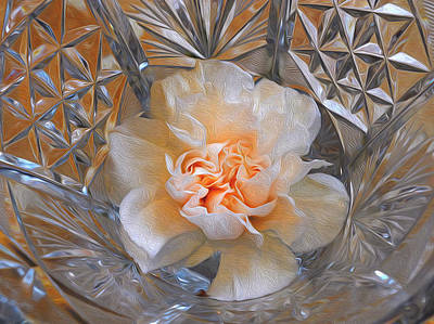 Photograph - Carnation In Cut Glass 7 by Lynda Lehmann