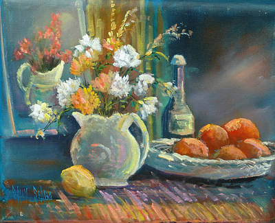 Pitcher Painting - Carnations And Oranges by Sally Seago