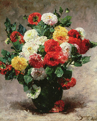Carnations Painting - Carnations In A Vase by Georges Jeannin