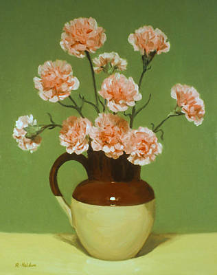 Painting - Carnations In Bi-color Pitcher by Robert Holden