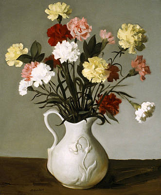 Painting - Carnations In Early American Reproduction Vase by Robert Holden