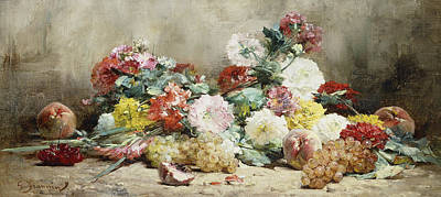 Carnations, Roses, Grapes And Peaches Art Print by Georges Jeannin