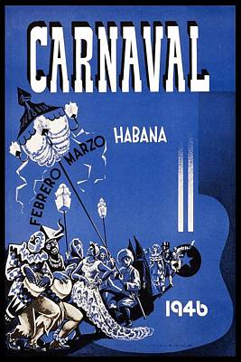 Royalty-Free and Rights-Managed Images - Carnaval 1946 - Habana - Havana, Cuba - Retro travel Poster - Vintage Poster by Studio Grafiikka