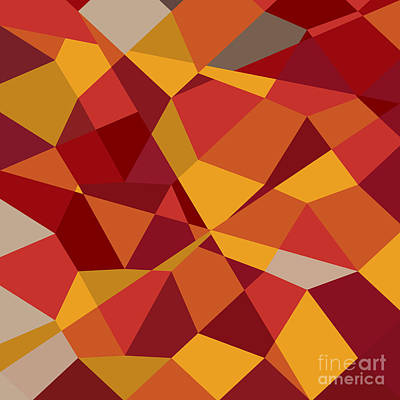 Carnelian Digital Art - Carnelian Red Abstract Low Polygon Background by Aloysius Patrimonio