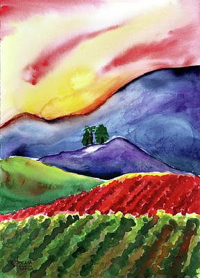Carneros Vineyard Card Painting - Carneros Sunset by Amelia Hunter