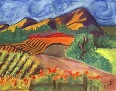 Napa Landscape Pastel - Carneros Vineyard Fall by Amelia Hunter