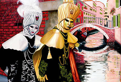 Brick Buildings Painting - Carnevale Venezia - Prints From Original Oil Painting by Mary Grden Fine Art Oil Painter Baywood Gallery