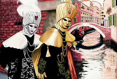 Building Painting - Carnevale Venezia - Prints From Original Oil Painting by Mary Grden Fine Art Oil Painter Baywood Gallery