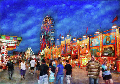 Carnival - The Carnival At Night Art Print by Mike Savad
