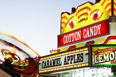 Cotton Candy Photograph - Carnival Concession Stand Sign And Ride by Paul Velgos